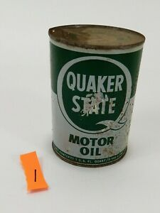 Vintage-1981-Quaker-State-Metal-Motor-Oil-Can-1-Quart-Empty