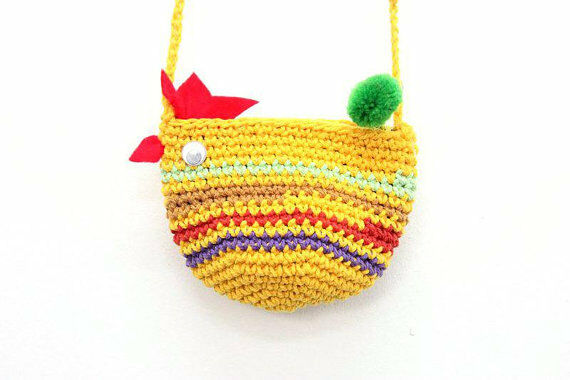 Multi-Color Chicken Crochet Small Shoulder Bag with Pom Pom Zipper Pull Thailand