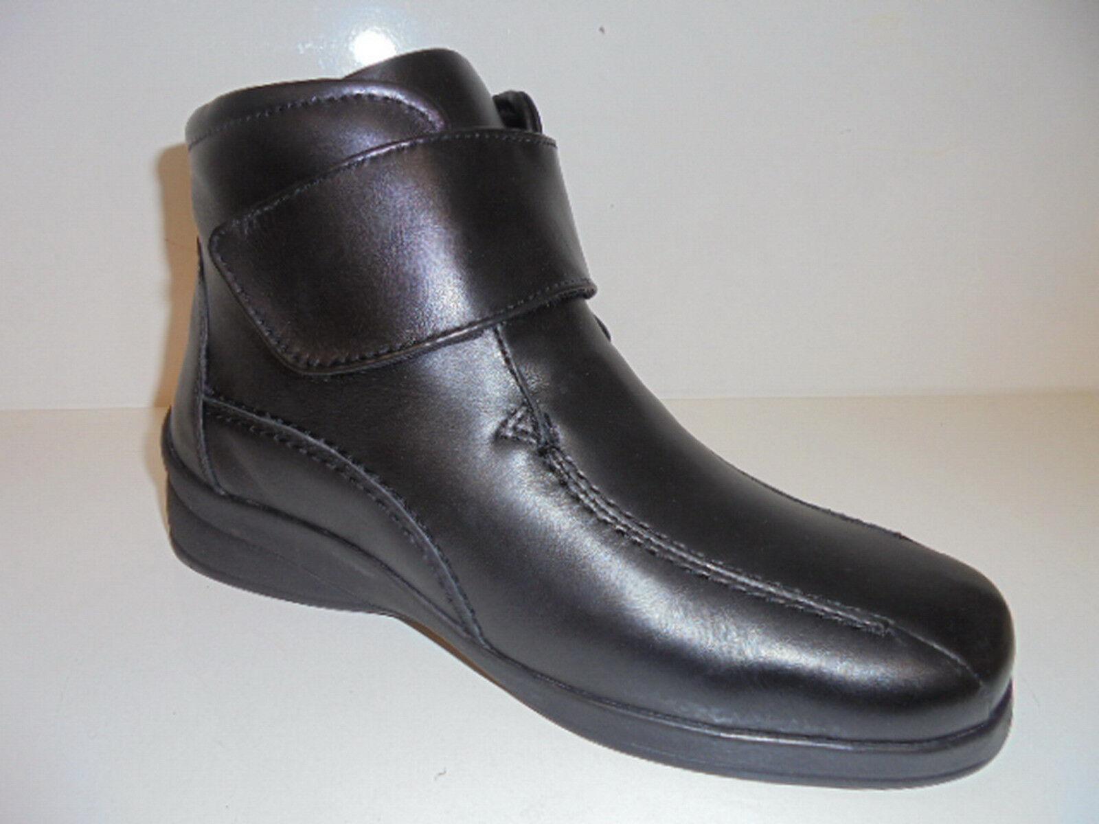 1626001 SANA Vital Damenschuhe Klettverschluß Stiefeletten Leder schwarz Gr. 37