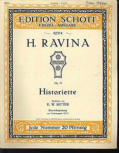 H-Ravina-Historiette-Op-71-alte-uebergrosse-Noten-Piano-und-Violine