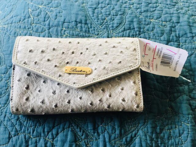 NEW Buxton Ostrich Brights Crossbody Wallet, Paloma $48