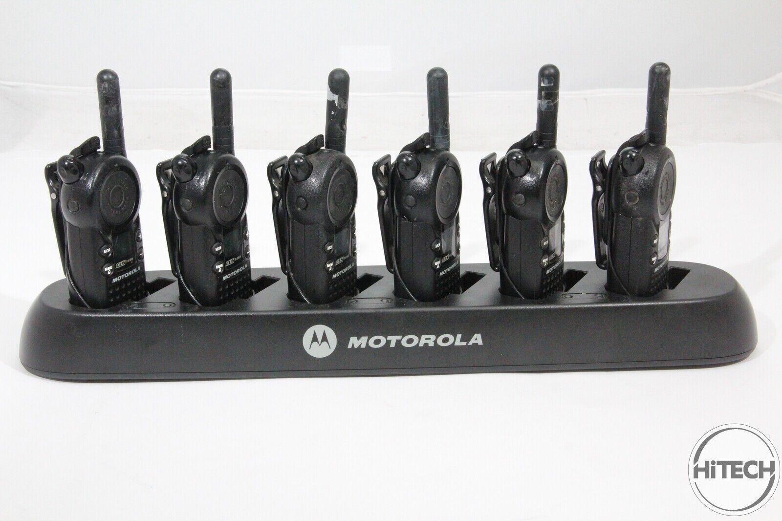 Lot of 6 Motorola CLS1410 Walkie Talkies & Charger HCTN4002A Earpieces, Holsters. Buy it now for 399.99