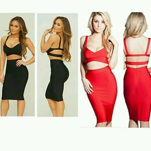 9aa60bb88eed Black or Red Crop Top Strappy Ladder Back Two Piece Womens Bandage ...