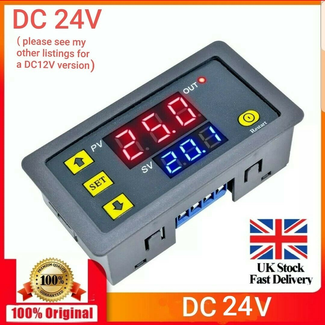 24V Digital LED Display Cycle Timing Delay Timer Relay Module 0-999 Hours K
