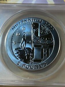 1999-Gibraltar-5-Pounds-Titanium-Millennium-Coin-Graded-MS67-by-ANACS