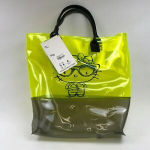 HELLO-KITTY-X-FOREVER-21-PLASTIC-TOTE-BAG-NEON-GREEN-WOMEN-039-S-NEW