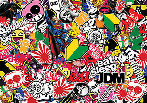 x2-JDM-sticker-bombing-sheets-A4-sticker-bomb-decal-Euro-style-drift