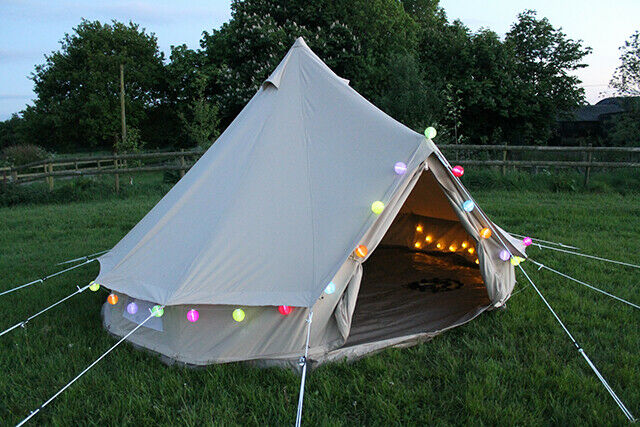 UNISTRENGH 5M Canvas Bell Tent Waterproof Glamping Outdoor Camping Tent Yurt