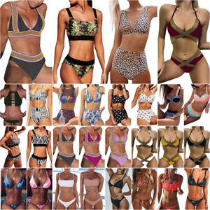 Damen Push Up Bikini Set Hohe Taille Bademode Schwimmanzug Badebekleidung Urlaub