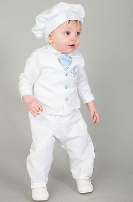 Baby Boys Battesimo Completo/abito Battesimo 4pc Vestito Marinaio Blu Chiaro-mostra Il Titolo Originale