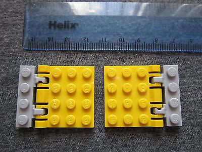Lego 2 x Ratchet Hinged Train Shutters Yellow Grey Trap Doors Railway Gate