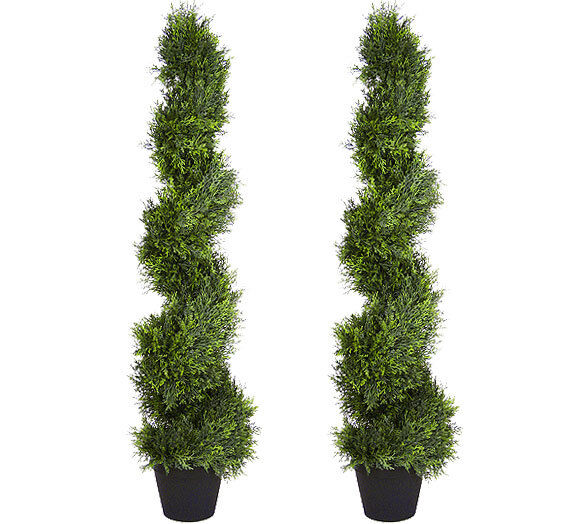 2 Artificial 4'3  Cypress Spiral Topiary Tree Fake Plant Cedar Pine In Outdoor