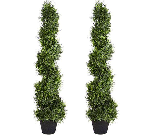 2 Kunstificial 4'3  Cypress Spiral Topiary Tree Fake Plant Cedar Pine In Outdoor