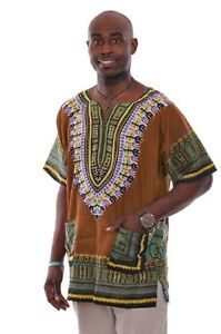 Plus-Size-Brown-Unisex-Dashiki-Shirt-DP3757M-M-L-XL-2X-3X-4X-5X-6X-7X
