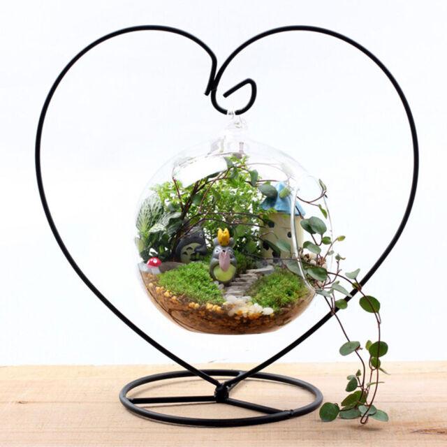 Black Heart Shaped Iron Hanging Plant Glass Vase Terrarium Stand