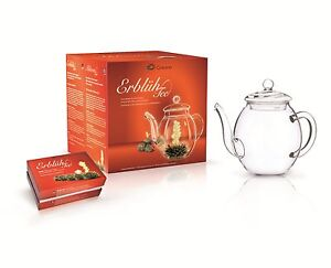 Erblueh-Tee-Creano-Geschenk-Set-Nachfuellpack-Teeblumen-Teelini-Teeglas-Kanne