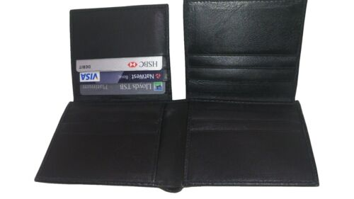 MENS LUXURY SOFT QUALITY LEATHER WALLET PURSE BLACK UK SELL CREDIT CARD HOLDER