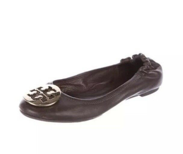 TORY BURCH WOMEN'S REVA LEATHER LEATHER REVA BROWN BALLET FLATS SZ 6.5M f276e2