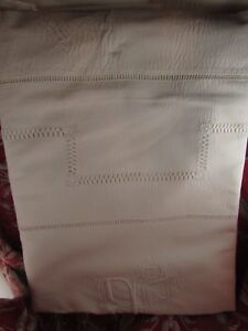 100% Vrai Ancien Drap Fil Coton Brodé De Plumetis & Jours Blanc Monogramme Jb Bj