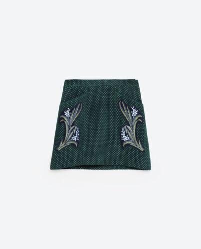 38 Gonna Zara Verde di Donna 34 Xs 36 ricamata M pelle S vvTfxq