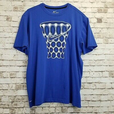 Nike Men/'s Basketball Hoops T-Shirt Size Medium Blue Black Dri-Fit Athletic New