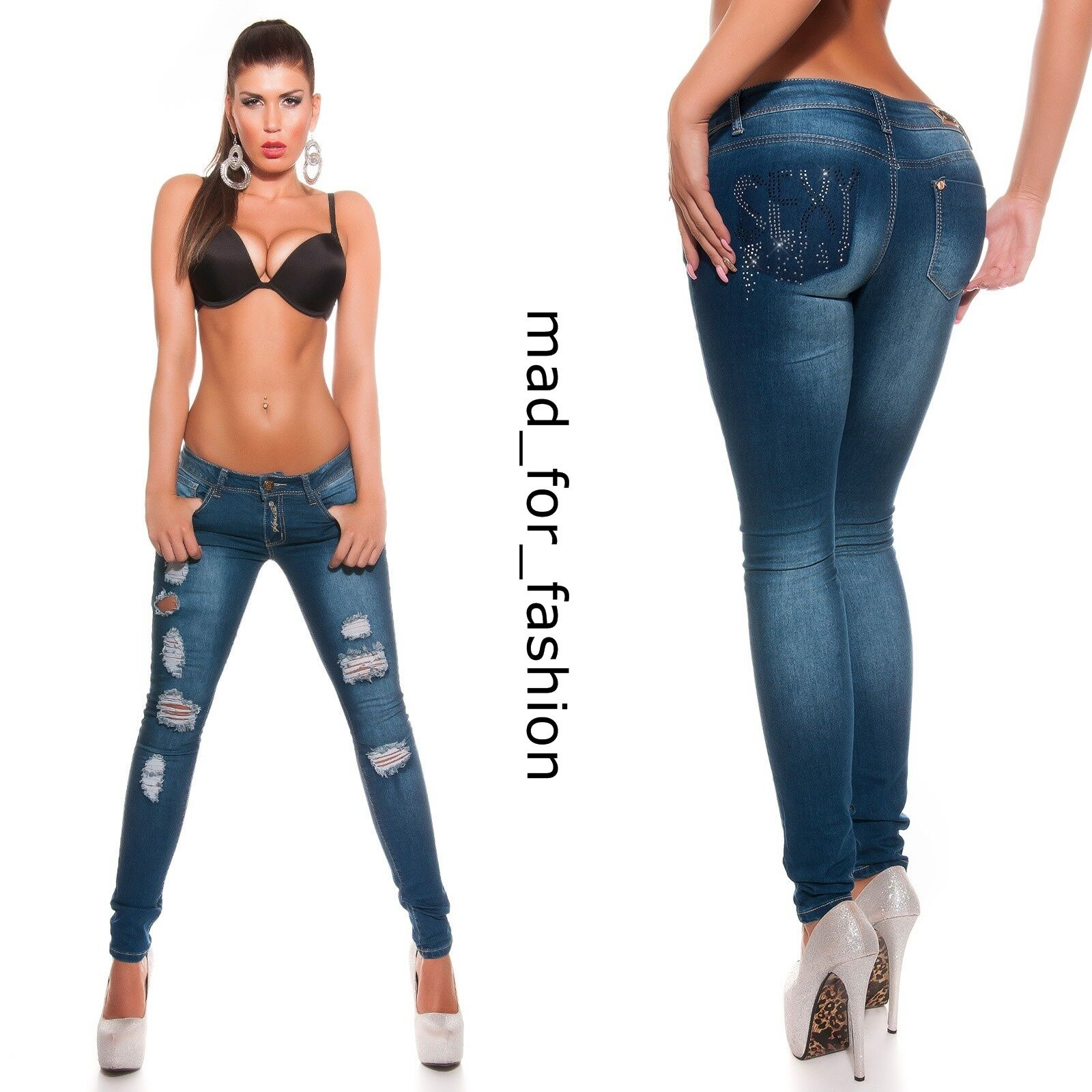 SEXY blue JEANS FILIFORME EN utilisé LOOK avec pierres de strass. UK