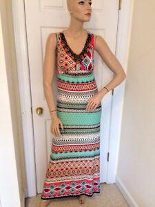 5e9a4b4e15 NWT Chico s Multi-Print Bead Embellished Maxi Dress Chico s 1 (US 8 ...