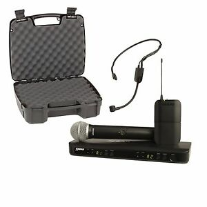 shure blx1288 p31 dual combo handheld headset wireless microphone system case ebay. Black Bedroom Furniture Sets. Home Design Ideas
