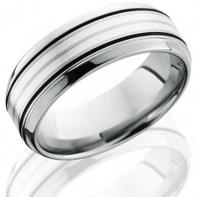 Titanium Grooved Sterling Silver Inlay 8mm Brushed//Antiqued Band