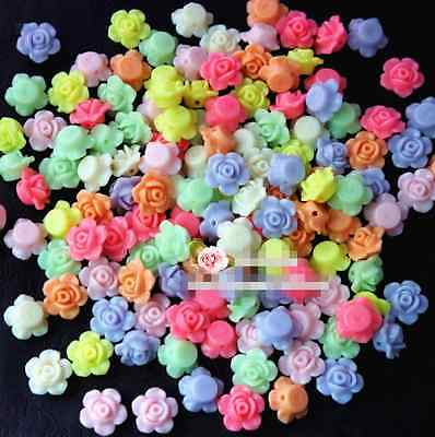 50Pcs 13mm Mixed Color Rose Flower Spacer Loose Beads