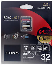 SONY SDHC UHS-I U3 32GB SD Memory Card Class 10 94MB/s FULL 4K ULTRA HD 3D 32G