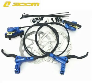 ZOOM Mountain XC Bike Front Rear Brake lever Hydraulic Disc Brakes Calipers Blue