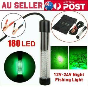 180 Green LED Underwater Fishing Light Lamp 900 Lumens Squid Prawn Fish DC 12v