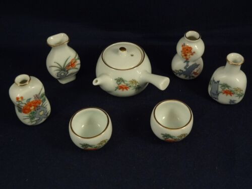 Ancien jouet service à thé saké décor asiatique porcelaine miniature dînette