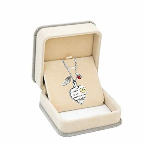 Heart Cremation Urn Necklace Angel Wing Jewelry Memorial Pendant for Ashes Son