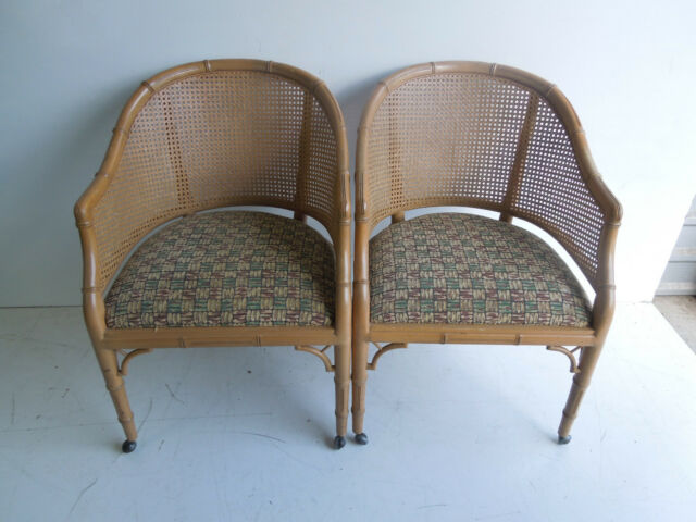 Pair Hollywood Regency Faux Bamboo Cane Chair Tub Mid Century Barrel 2 Of 16