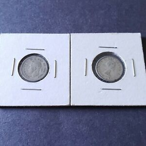 1944-and-1964-Canada-Silver-Dime-10-Cents-Ship-Coin-10c-Canadian-Coins-Lot-of-2