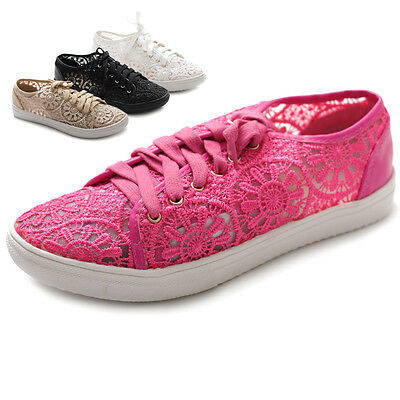 Ollio Womens Ballet Shoes Lace Up Sneaker Flats