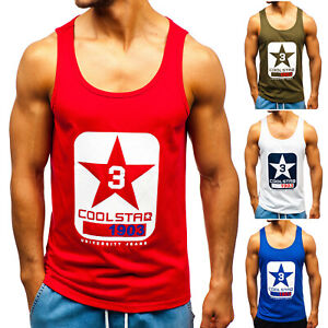 Tanktop-Tee-T-Shirt-Sport-Muskelshirt-Achselshirt-Motiv-Herren-BOLF-3C3-Print