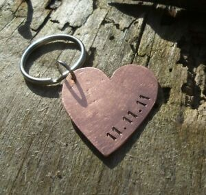 Image Is Loading Solid Copper Engraved Keyring Love Heart Personalised Gifts