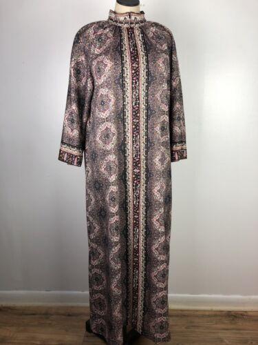 Vintage Loungees Housecoat Caftan Pink Mandela Zip