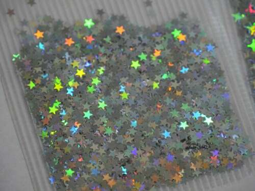 Halo silver Nail Flakes 3D DIY laser Sequins//silver star heart starry glitters