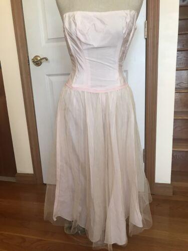 1950s Pale Pink Satin Mesh Sleeveless Full Skirt S