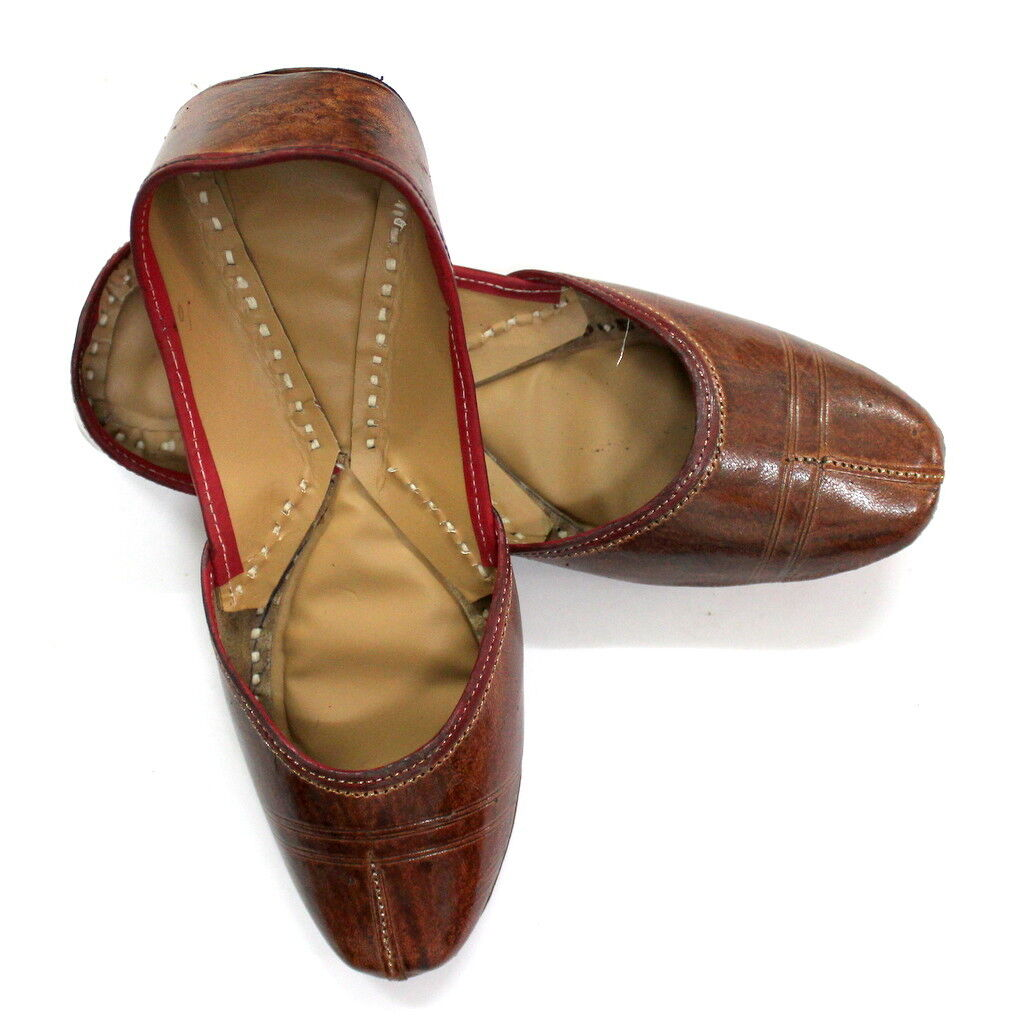 Women Pure Leather Jutti Brown Mojari Sandle shoes Handmade Chappal Punjabi US