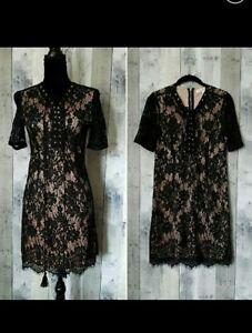 Love-Tree-Black-Nude-Lace-Dress-Size-L