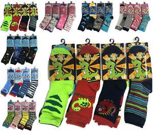 Girls-Boys-6-Pairs-Children-039-s-Kids-Soft-Socks-Designer-Character-Print-All-Sizes