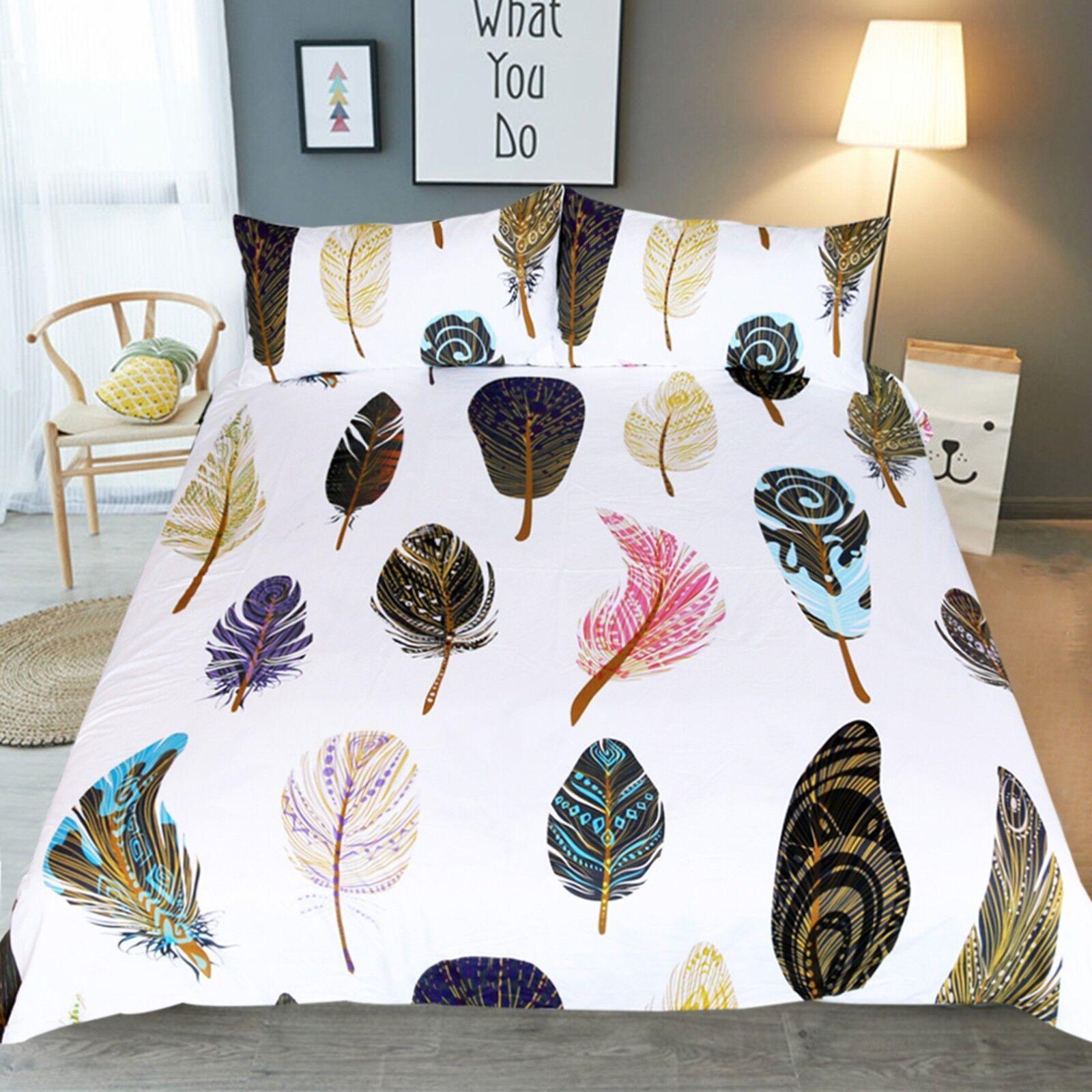 3D ColGoldt Feathers 42 Bed Pillowcases Quilt Duvet Cover Set Single Queen CA