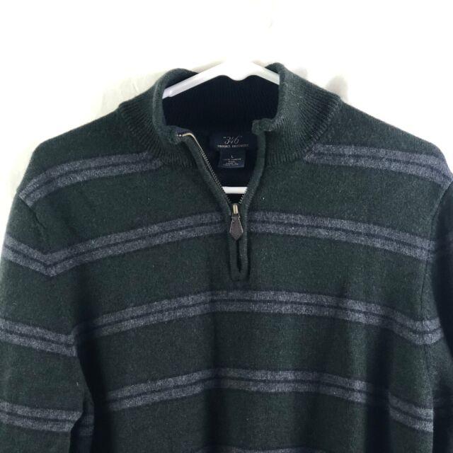 Brooks Brothers 346 Sweater Mens Large Green Striped 1/4 Zip 100% Merino Wool