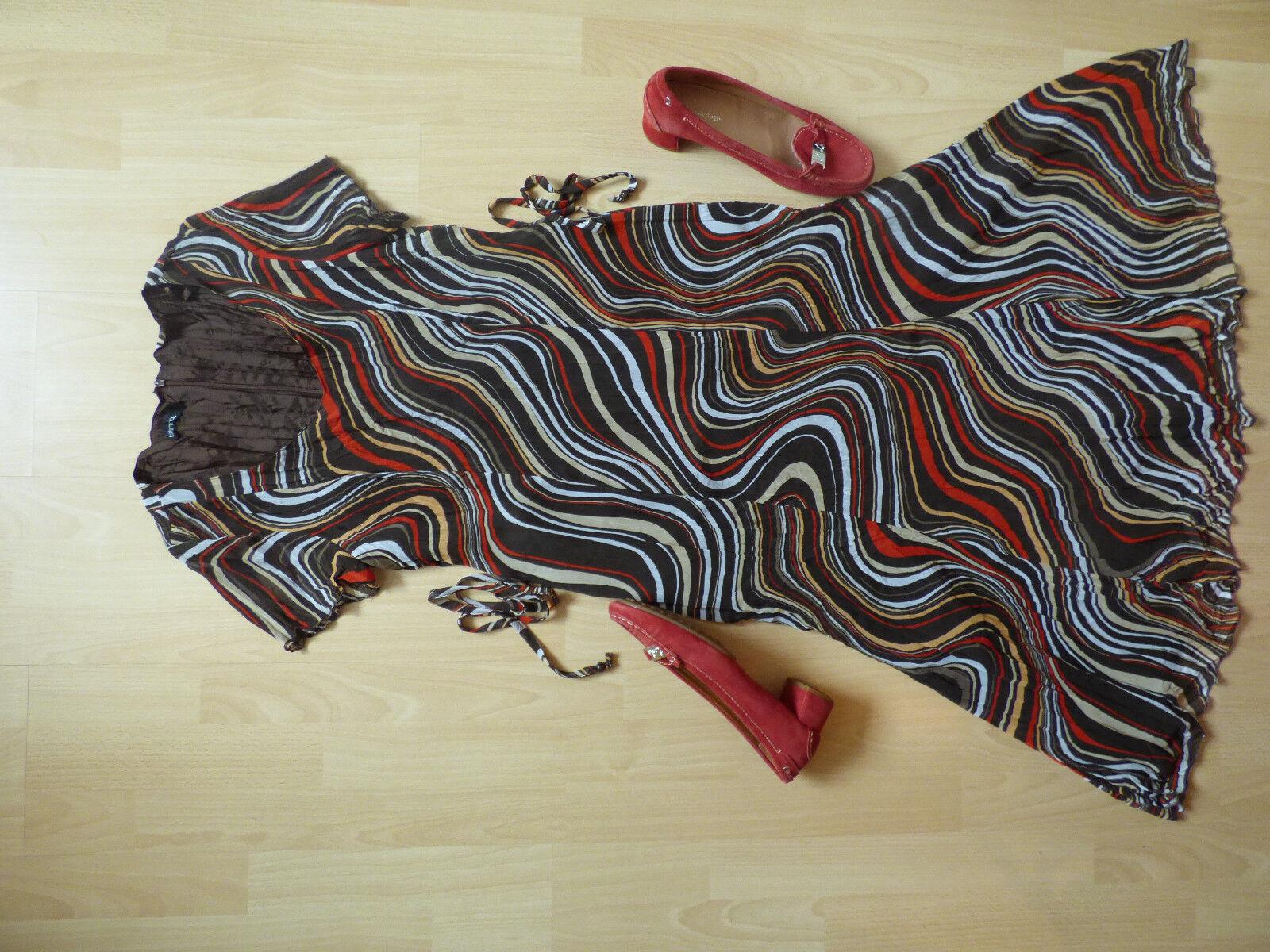 Kleid Weiß Gr. 36 Mehrfarbig + Schuhe Gr. 39 von Lambertazzi wie Neu