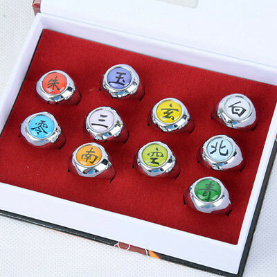 Naruto Akatsuki Rings 10 Piece Set In Box Anime Cosplay Costume Fashional xfu